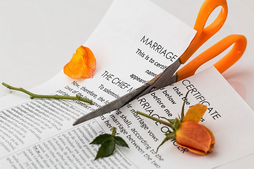 cutting up the marriage certificate